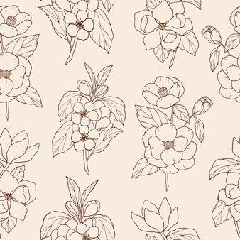 Modèle sans couture floral dessiné à la main