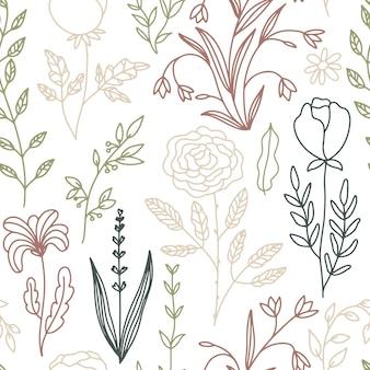 Modèle sans couture floral doodle