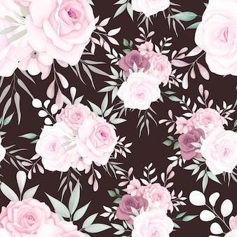 Modèle sans couture floral élégant avec de belles fleurs douces
