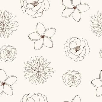 Modèle sans couture floral élégant croquis