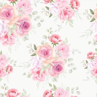 Modèle sans couture floral élégant avec décoration florale douce