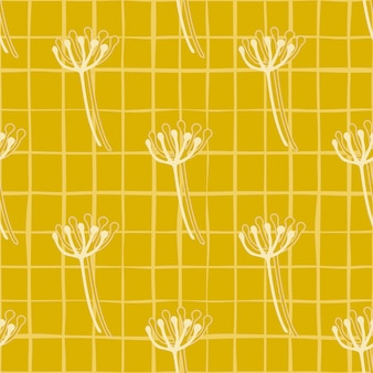 Modèle sans couture floral d'été lumineux avec des figures de pissenlit contour blanc. fond jaune avec chèque.