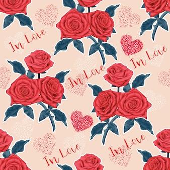 Modèle sans couture floral avec des fleurs de rose rouge sur fond abstrait de coeur.