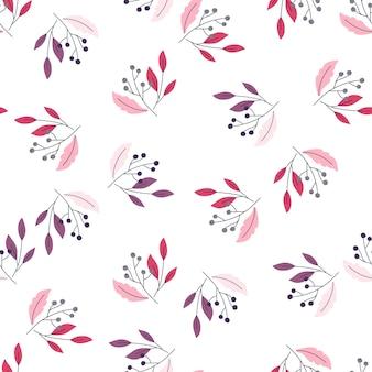 Modèle sans couture floral lumineux isolé avec des baies décoratives et des silhouettes de feuilles
