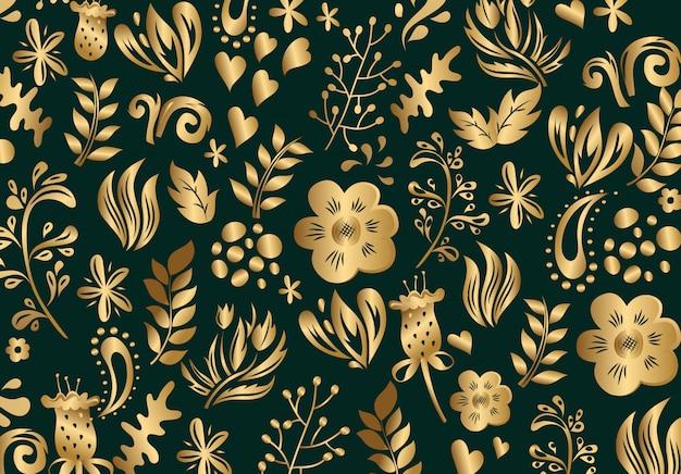 Modèle sans couture floral de luxe doré