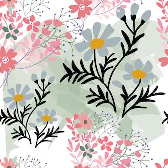 Modèle sans couture floral mignon fleur rose et bleu doux