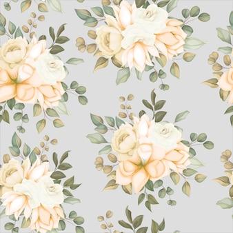 Modèle sans couture floral moderne avec des fleurs douces