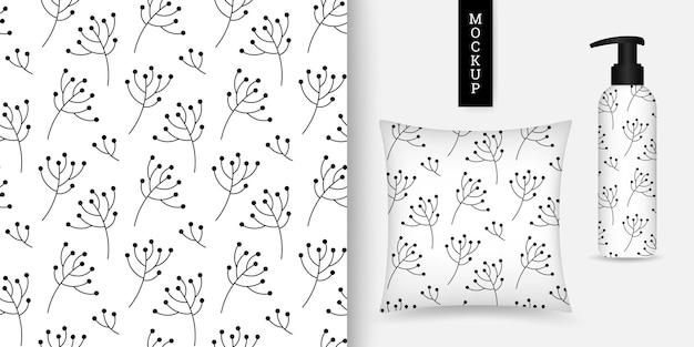 Modèle sans couture floral monochrome