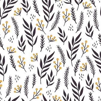 Modèle sans couture floral de noël. illustration de style dessiné à la main.