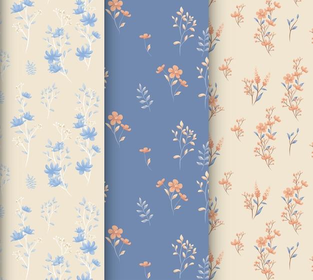Modèle sans couture floral pastel bleu et crème