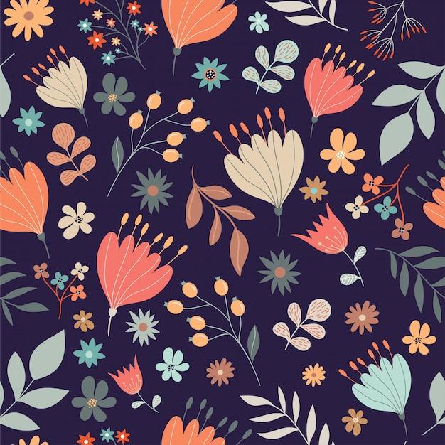 Modèle sans couture floral rétro