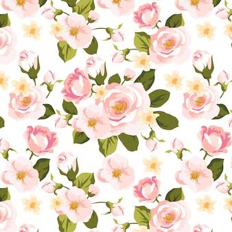 Modèle sans couture floral rose doux