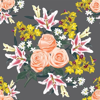 Modèle sans couture floral avec rose rose, orchidée et fleurs de lys abstrait. illustration aquarelle dessin à la main.