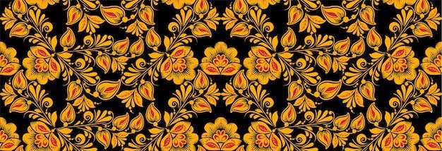 Modèle sans couture floral, style de dessin hohloma.