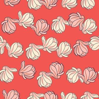 Modèle sans couture floral de style summet avec des fleurs de magnolia aléatoires de contour