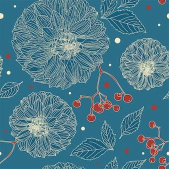 Modèle sans couture floral turquoise de fleurs de dahlia dans un style vintage