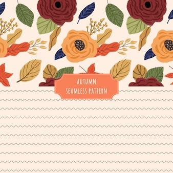 Modèle sans couture floral et vague de l'automne