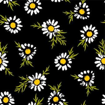 Modèle sans couture florale abstraite à la camomille. textures dessinées à la main à la mode