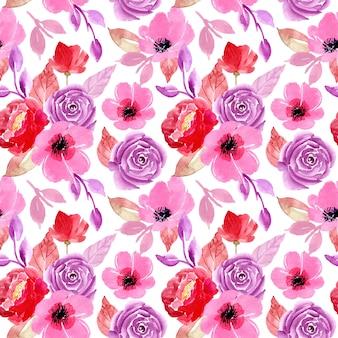 Modèle sans couture florale aquarelle rouge violet