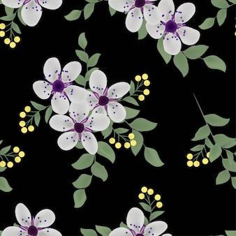 Modèle sans couture florale et feuille