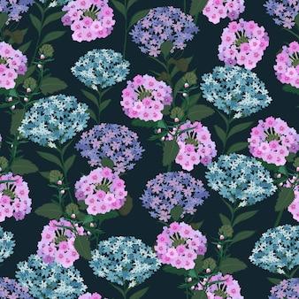 Modèle sans couture florale de fleur hortensia.