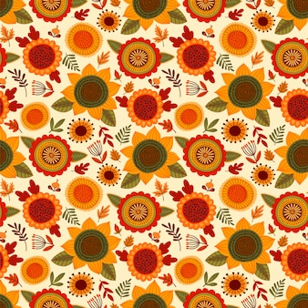 Modèle sans couture folklorique avec des fleurs d'automne