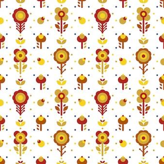 Modèle sans couture folklorique floral jaune simple rouge