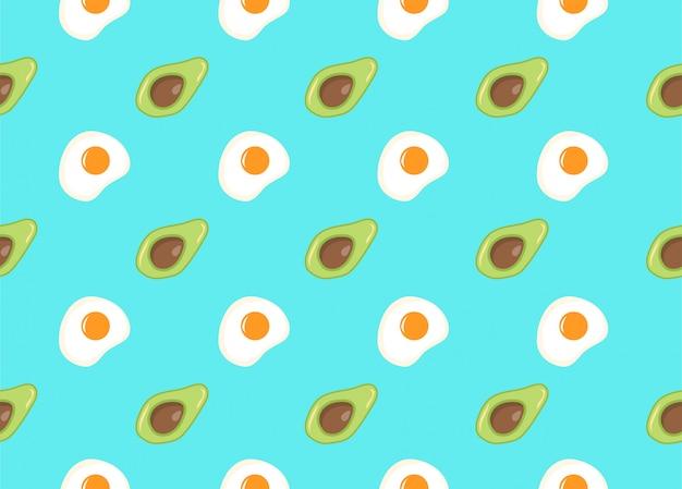Modèle sans couture sur fond bleu sarcelle avec avocat et œuf au plat comme modèle pour les éléments d'emballage, textiles et web. alimentation et mode de vie sains. régimes de perte de poids, véganisme, végétarisme