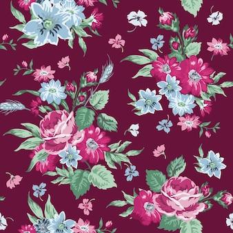 Modèle sans couture de fond floral vintage