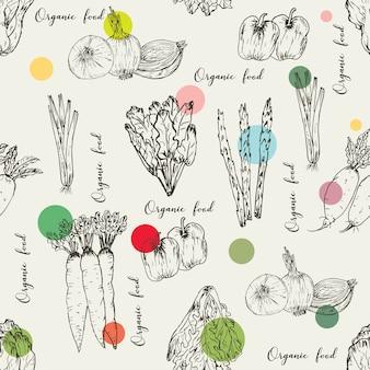 Modèle sans couture avec fond de légumes dessinés à la main. herbes et épices biologiques, dessins de nourriture saine modèle illustration vectorielle.