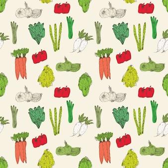 Modèle sans couture avec fond de légumes dessinés à la main