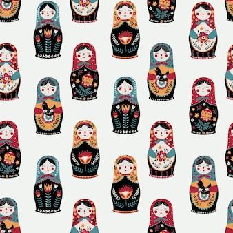 Modèle sans couture avec fond de matriochka poupées russes colorées