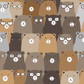 Modèle sans couture avec fond ours mignon, art ours mignon doodle pour les enfants