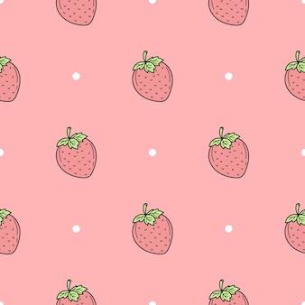 Modèle sans couture de fond de vecteur de fraises dessinées à la main