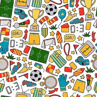 Modèle sans couture de football football avec doodles