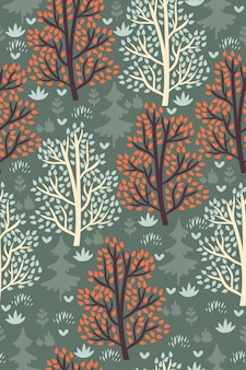 Modèle sans couture de forêt avec des arbres.