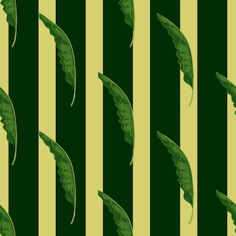 Modèle sans couture de forêt de jungle avec des formes de feuillage de palmier vert. fond rayé. impression de nature abstraite. impression vectorielle à plat pour textile, tissu, emballage cadeau, papiers peints. illustration sans fin.
