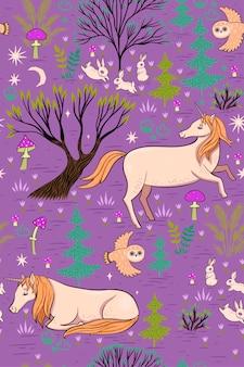 Modèle sans couture de forêt magique avec des licornes.