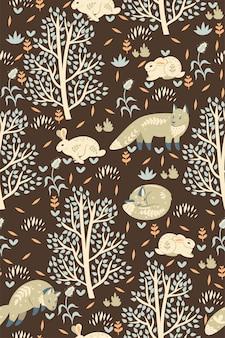 Modèle sans couture de forêt avec des renards et des lièvres.