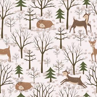 Modèle sans couture de forêt de renne lunatique