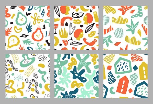 Modèle sans couture de formes contemporaines. arrière-plan moderne géométrique, modèles de collage à la mode colorés. texture de vecteur floral gribouillage minimal. floral exotique dessiné, affiche à la mode illustration d'emballage