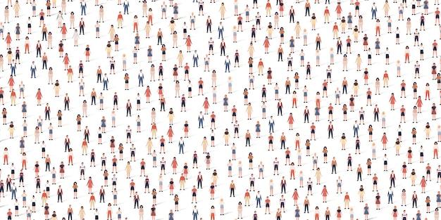 Modèle sans couture de foule de personnes différentes. grand groupe de citoyens dans un style plat avec des ombres