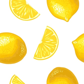 Modèle sans couture frais entier et tranche de citron vector illustration réaliste dessinés à la main