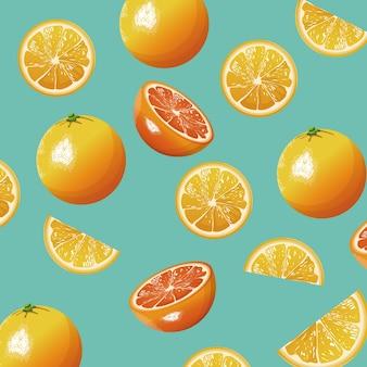 Modèle sans couture frais de fruits orange