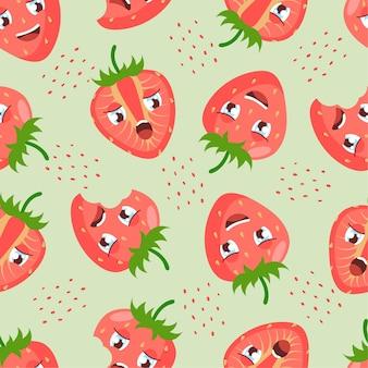Modèle sans couture de fraise avec des baies de dessin animé mignon sur fond vert clair. bon pour les textiles, la décoration intérieure, les vêtements pour bébés, l'impression, le papier numérique.