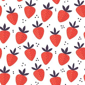 Modèle sans couture de fraise dessiné à la main