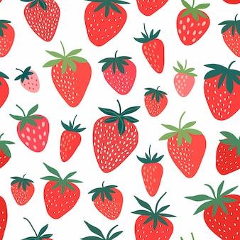 Modèle sans couture de fraise avec des éléments décoratifs dessinés à la main, blanc