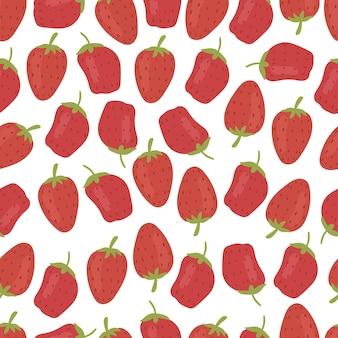 Modèle sans couture de fraise isolé sur fond blanc