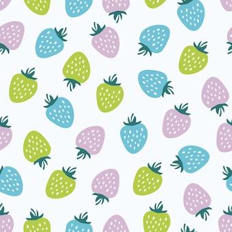 Modèle sans couture avec des fraises colorées
