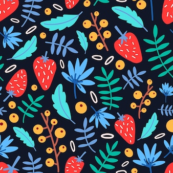 Modèle sans couture avec des fraises, des fleurs et des feuilles sur fond noir